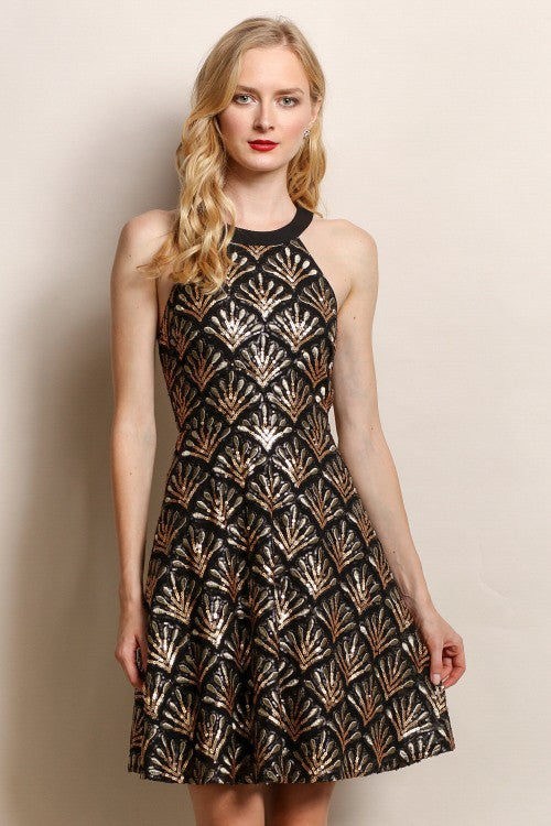 Joyful Sequin Design Party Dress in Black/Gold