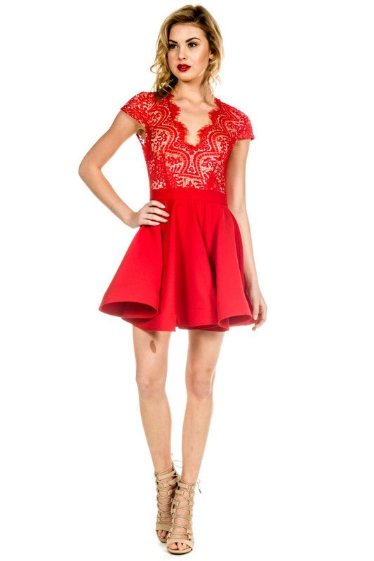 Scalloped Bright Red Lace Dress -  - Dress - COME SHOP WITH LOVE - 1