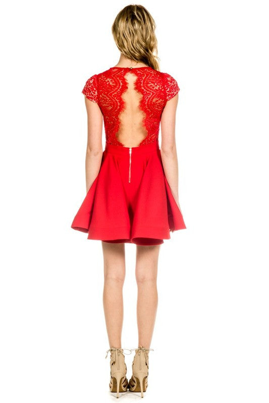 Scalloped Bright Red Lace Dress -  - Dress - COME SHOP WITH LOVE - 2