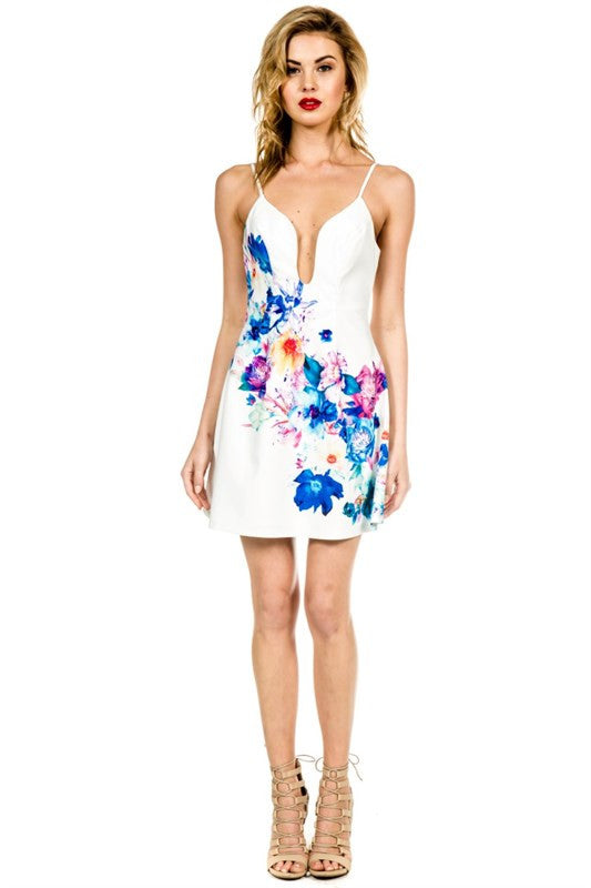 Spring Floral Patterned Dress White -  - Dress - COME SHOP WITH LOVE - 1