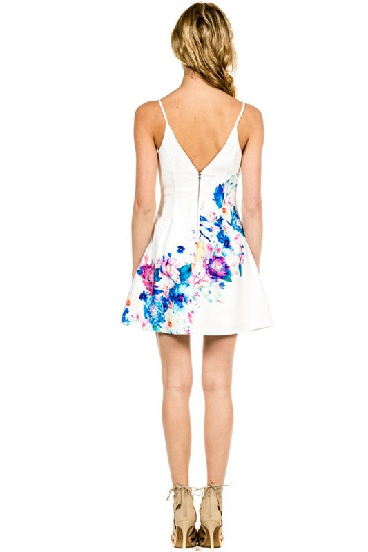 Spring Floral Patterned Dress White -  - Dress - COME SHOP WITH LOVE - 2