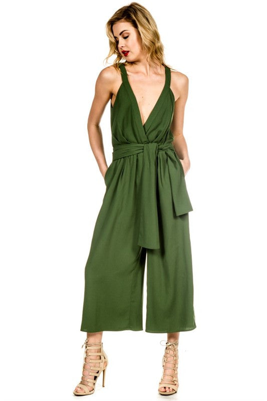 Forest Green Culotte Jumpsuit -  - Jumpsuit - COME SHOP WITH LOVE - 1