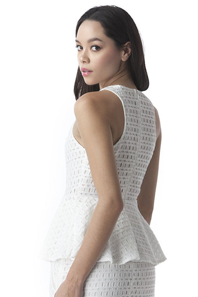 Elegant and Soft Fit and Flare Peplum Top White -  - Top - COME SHOP WITH LOVE - 1
