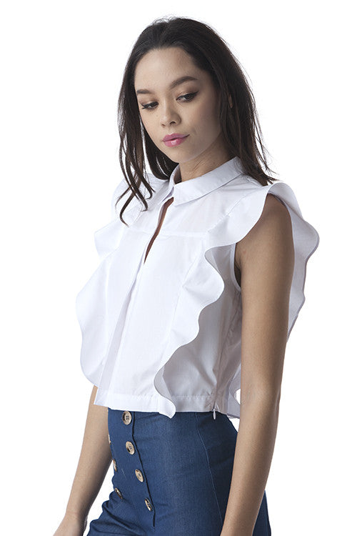 Ruffled Cotton Crop Top White -  - Top - COME SHOP WITH LOVE - 3