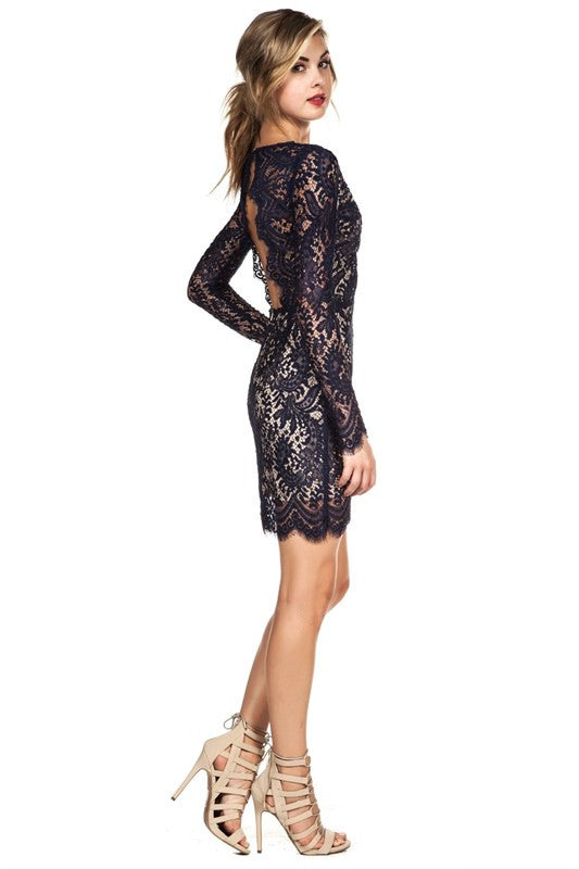 Delicate Scalloped Lace Dress Navy -  - Dress - COME SHOP WITH LOVE - 3