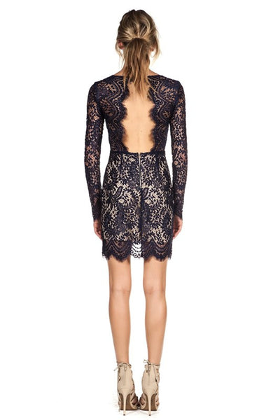Delicate Scalloped Lace Dress Navy -  - Dress - COME SHOP WITH LOVE - 1