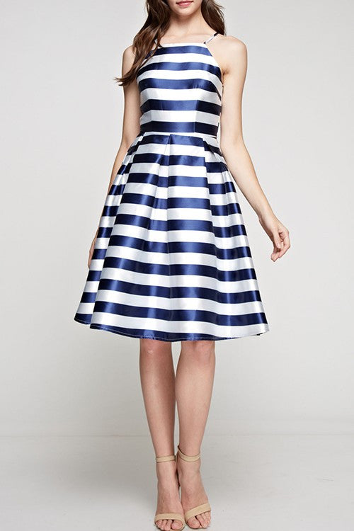 Striped Flared Dress Navy and White -  - Dress - COME SHOP WITH LOVE - 5