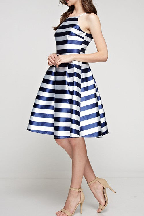 Striped Flared Dress Navy and White -  - Dress - COME SHOP WITH LOVE - 3
