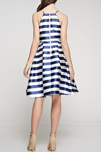 Striped Flared Dress Navy and White -  - Dress - COME SHOP WITH LOVE - 1