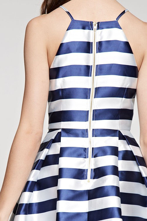 Striped Flared Dress Navy and White -  - Dress - COME SHOP WITH LOVE - 4