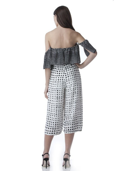 Off-Shoulder Wide Leg Jumpsuit In Geo Print -  - Jumpsuit - COME SHOP WITH LOVE - 1