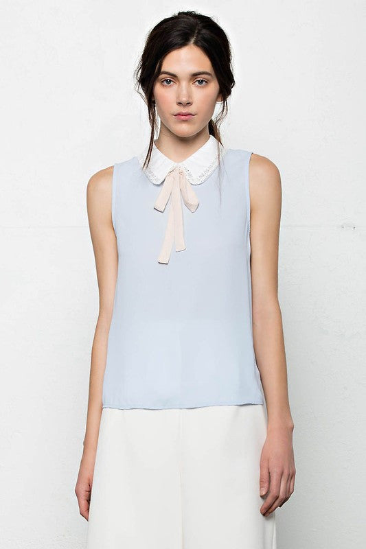 Pastel Blue and Pink Neck Tie Top -  - Top - COME SHOP WITH LOVE - 1