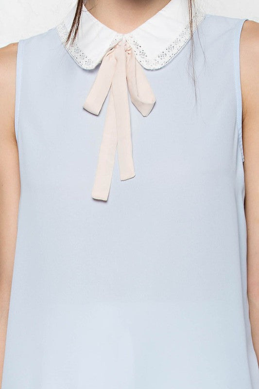 Pastel Blue and Pink Neck Tie Top -  - Top - COME SHOP WITH LOVE - 4