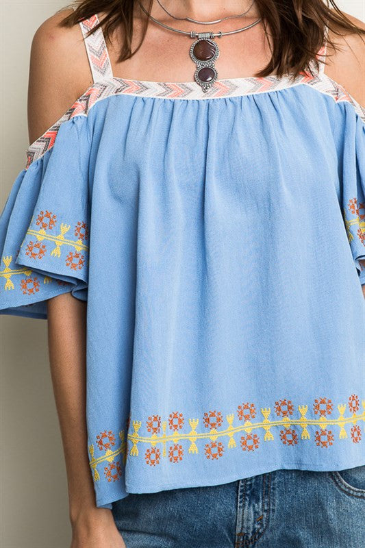 Powder Blue Embroidered Off-Shoulder Top -  - Top - COME SHOP WITH LOVE - 3