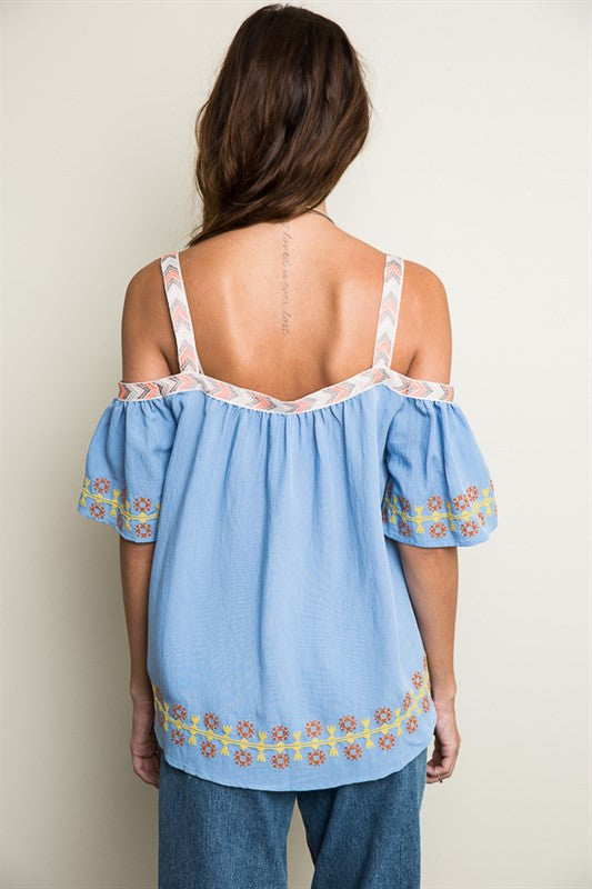 Powder Blue Embroidered Off-Shoulder Top -  - Top - COME SHOP WITH LOVE - 2