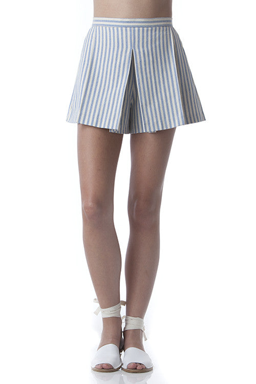 Pleated Clean Lines Shorts Off-white and Blue Stripes -  - Bottom - COME SHOP WITH LOVE - 1