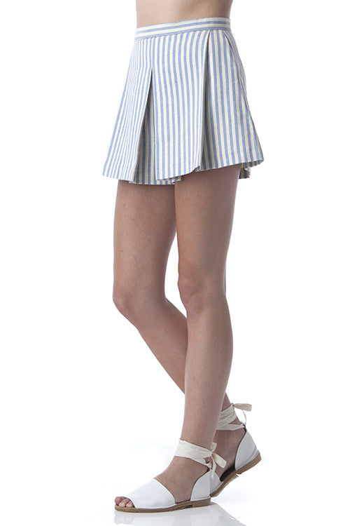 Pleated Clean Lines Shorts Off-white and Blue Stripes -  - Bottom - COME SHOP WITH LOVE - 3