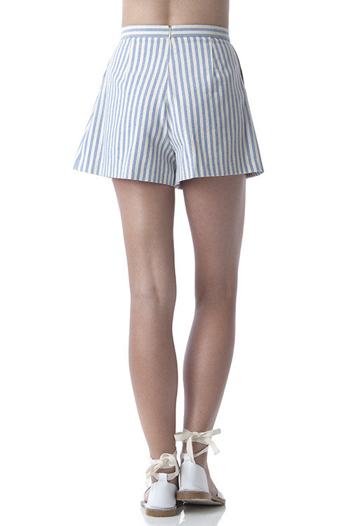 Pleated Clean Lines Shorts Off-white and Blue Stripes -  - Bottom - COME SHOP WITH LOVE - 2