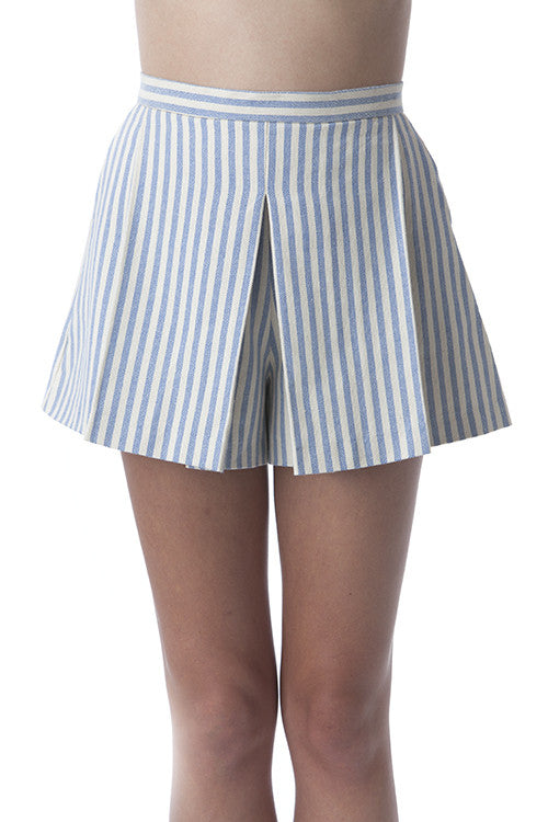 Pleated Clean Lines Shorts Off-white and Blue Stripes -  - Bottom - COME SHOP WITH LOVE - 4