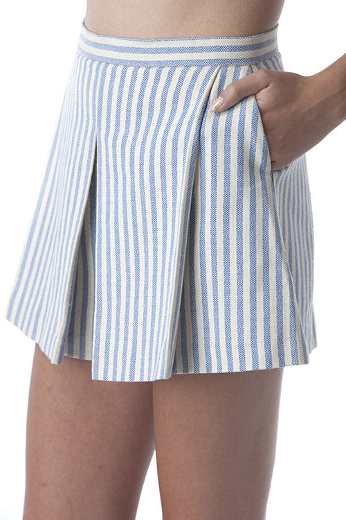 Pleated Clean Lines Shorts Off-white and Blue Stripes -  - Bottom - COME SHOP WITH LOVE - 5