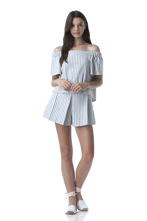 Pleated Clean Lines Shorts Off-white and Blue Stripes -  - Bottom - COME SHOP WITH LOVE - 6