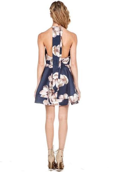 Floral Flared Open Back Halter Dress Navy - S / Navy - Dress - COME SHOP WITH LOVE - 1