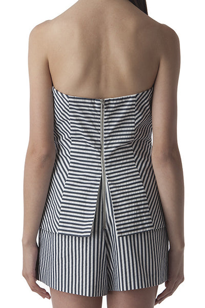 Strapless Romper Blue and White Stripes -  - Romper - COME SHOP WITH LOVE - 1