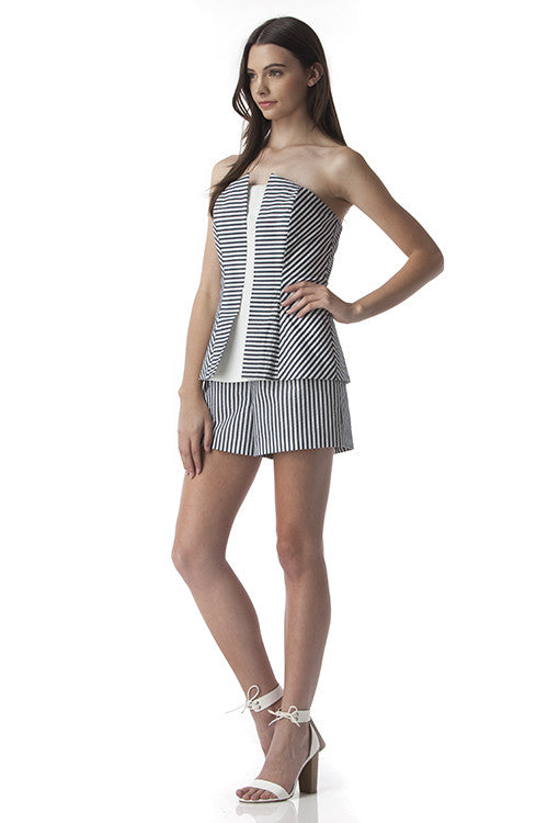 Strapless Romper Blue and White Stripes -  - Romper - COME SHOP WITH LOVE - 4
