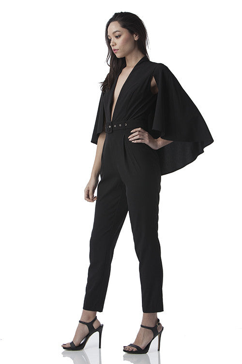 Cape Jumpsuit Black -  - Jumpsuit - COME SHOP WITH LOVE - 2