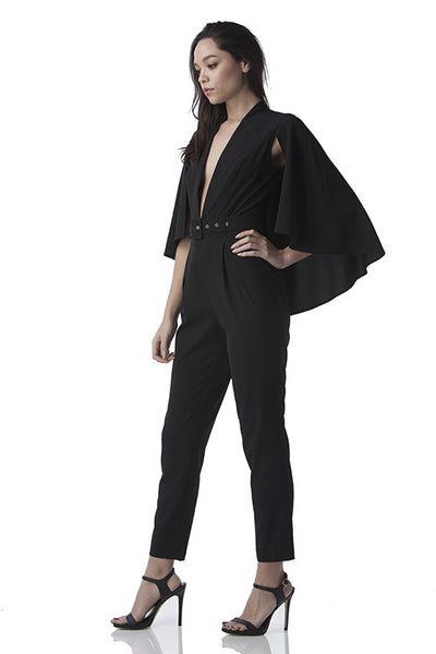 Cape Jumpsuit Black -  - Jumpsuit - COME SHOP WITH LOVE - 1