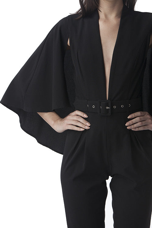 Cape Jumpsuit Black -  - Jumpsuit - COME SHOP WITH LOVE - 3