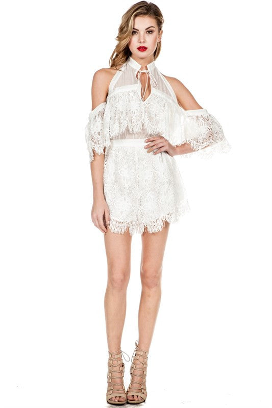 Off-Shoulder Lace Detail Romper White -  - Romper - COME SHOP WITH LOVE - 1