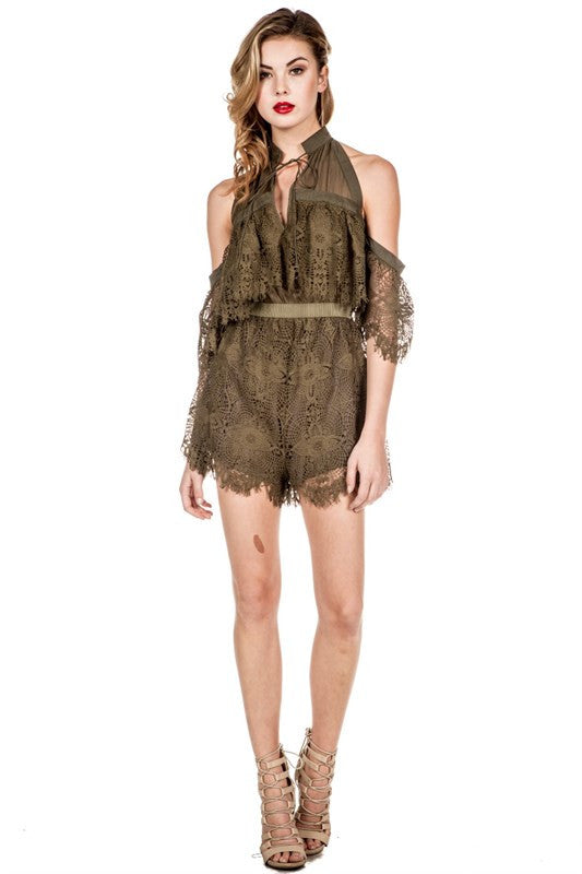 Off-Shoulder Lace Detail Romper Olive - S / Olive - Romper - COME SHOP WITH LOVE - 1