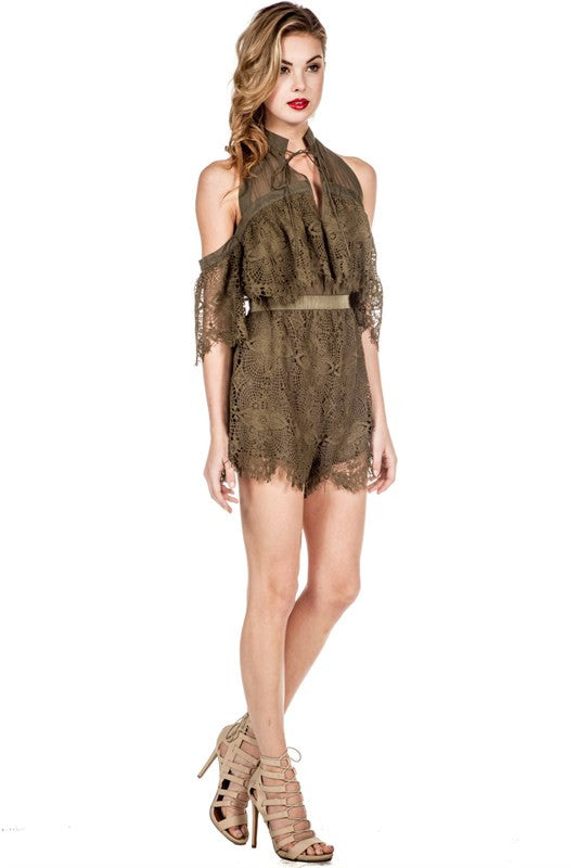 Off-Shoulder Lace Detail Romper Olive -  - Romper - COME SHOP WITH LOVE - 3