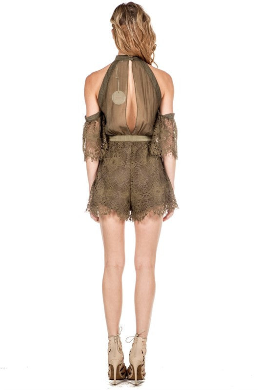 Off-Shoulder Lace Detail Romper Olive -  - Romper - COME SHOP WITH LOVE - 2