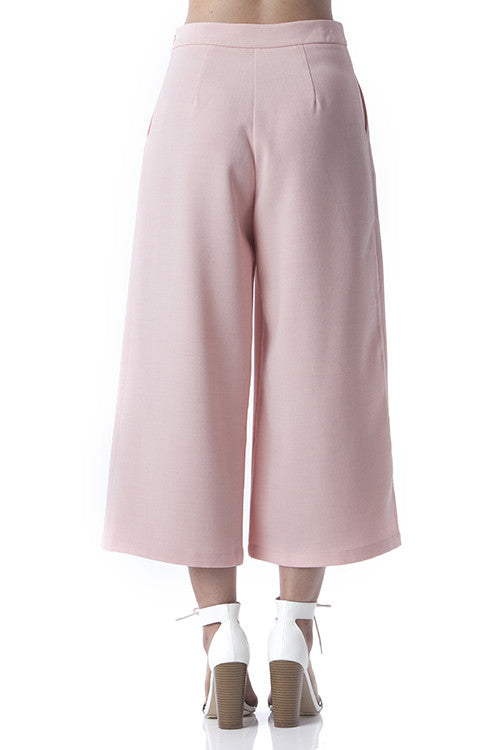 Side Pleated Culotte Pants Pink -  - Bottom - COME SHOP WITH LOVE - 2