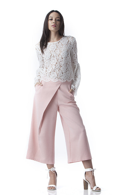 Side Pleated Culotte Pants Pink -  - Bottom - COME SHOP WITH LOVE - 4