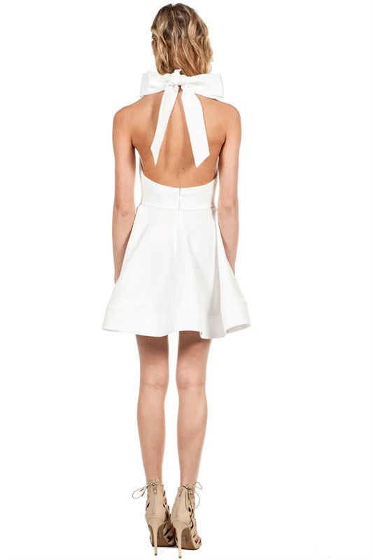 Spring Flared Halter Open Back Dress White -  - Dress - COME SHOP WITH LOVE - 2