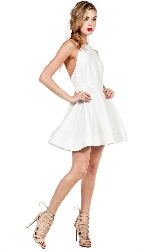 Spring Flared Halter Open Back Dress White -  - Dress - COME SHOP WITH LOVE - 3
