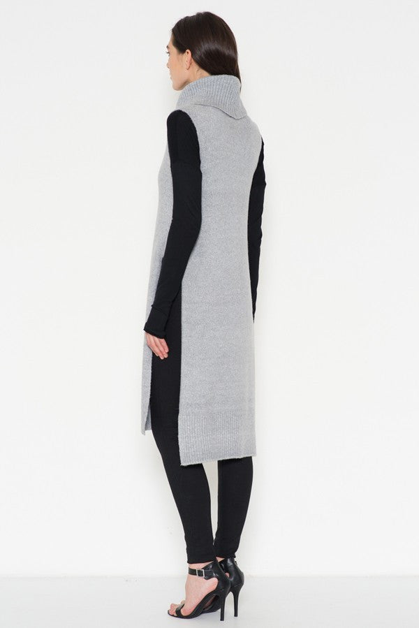 Turtle Neck Sleeveless Sweater Tunic with Slits in Grey