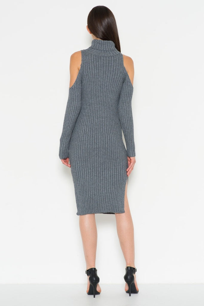 Cutout Shoulder Dress with Side Slits in Gray
