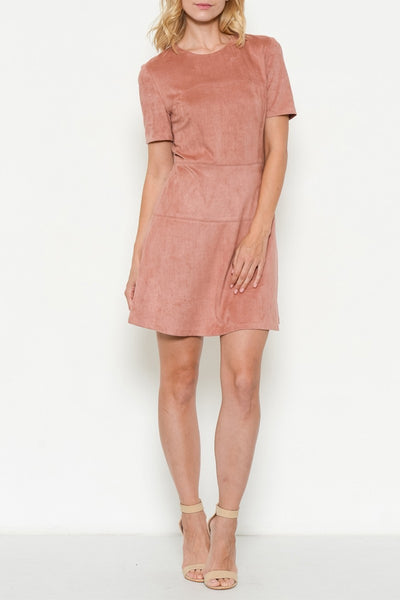Faux Suede Structured Dress in Blush