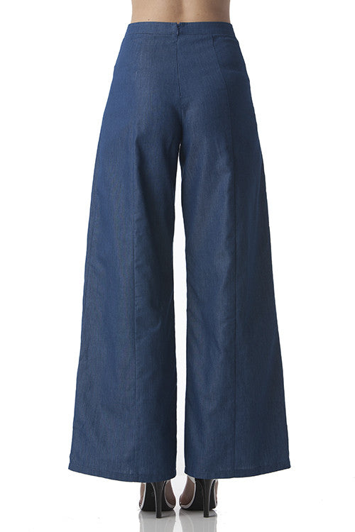 Wide Legged Pants with Gold Buttons and Denim Looks -  - Bottom - COME SHOP WITH LOVE - 2