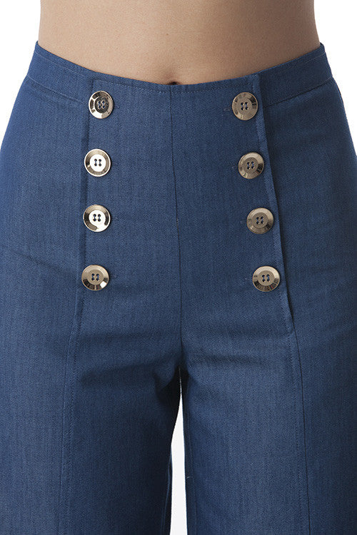 Wide Legged Pants with Gold Buttons and Denim Looks -  - Bottom - COME SHOP WITH LOVE - 3
