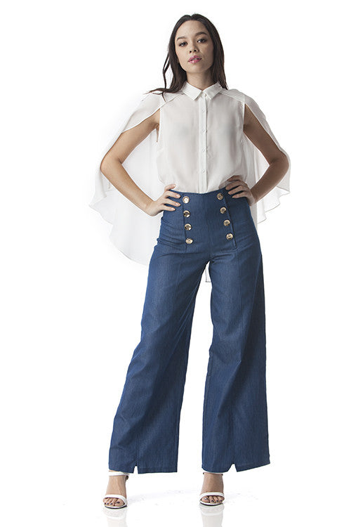 Wide Legged Pants with Gold Buttons and Denim Looks -  - Bottom - COME SHOP WITH LOVE - 4
