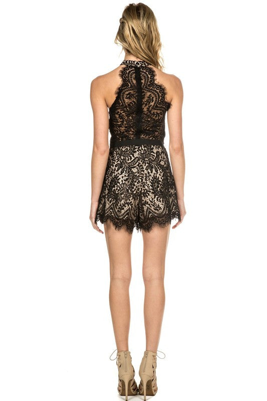 Scalloped Lace Romper Black -  - Romper - COME SHOP WITH LOVE - 2