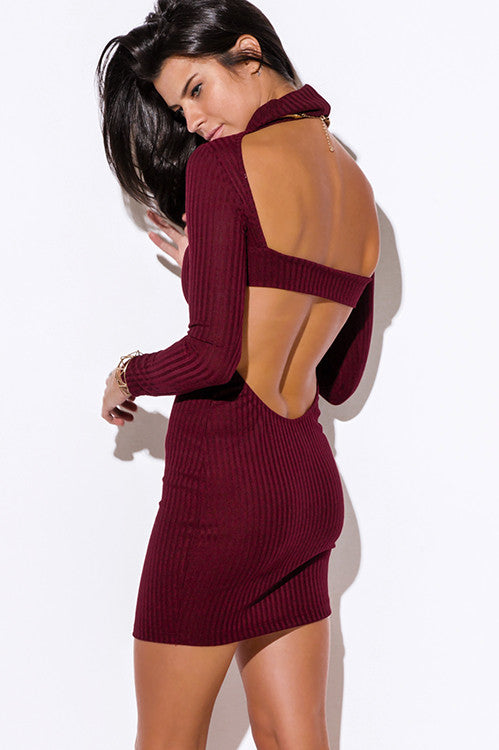 Burgundy Backless Dress -  - Dress - COME SHOP WITH LOVE - 4