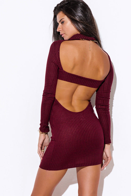 Burgundy Backless Dress -  - Dress - COME SHOP WITH LOVE - 2