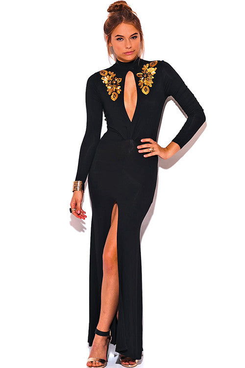 Long Mid Split Red Carpet Dress Black -  - Dress - COME SHOP WITH LOVE - 5
