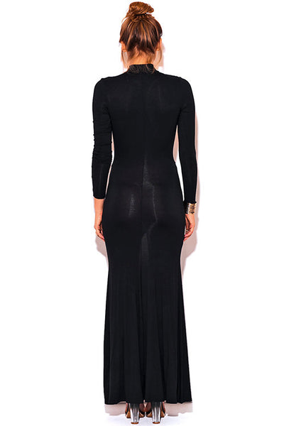 Long Mid Split Red Carpet Dress Black -  - Dress - COME SHOP WITH LOVE - 1